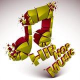 O vetor 3d verde quebrou a nota musical com salpicaduras e refractio Fotografia de Stock Royalty Free