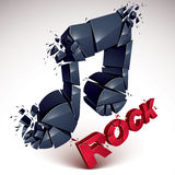 O vetor 3d vermelho e preto quebrou a nota musical com salpicaduras Imagens de Stock