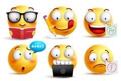 O vetor da cara do smiley ajustou-se para de volta à escola com expressões faciais ilustração royalty free