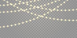 O vetor das luzes de Natal isolou cordas para Xmas da celebração do feriado, aniversário, luzes da lâmpada do festival no fundo t ilustração do vetor