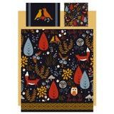 O vetor de linho e de fundamento projeta com outono bonito Foto de Stock Royalty Free