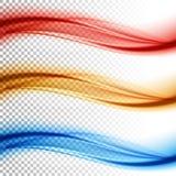 O vetor de onda liso abstrato da cor ajustou-se no fundo transparente Foto de Stock Royalty Free