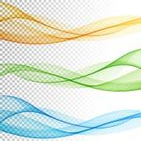 O vetor de onda liso abstrato da cor ajustou-se no fundo transparente Imagens de Stock