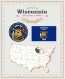 O vetor detalhado alto ajustou-se com bandeira, brasão Wisconsin Cartaz americano ano novo feliz 2007 ilustração royalty free