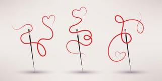 O vetor do ícone da agulha e da linha ajustou-se no estilo liso Imagens de Stock