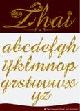 O vetor do alfabeto caligráfico tailandês ajustou quatro Foto de Stock