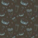 O vetor do alimento do café ajustou o teste padrão preto e azul do monograma da comida rápida ilustração stock