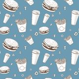O vetor do alimento de Afe ajustou-se o teste padrão branco e azul e preto do monograma da comida rápida ilustração royalty free