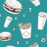 O vetor do alimento de Afe ajustou-se o teste padrão branco e verde e preto do monograma da comida rápida ilustração royalty free