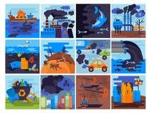 O vetor do ambiente da poluição poluiu a poluição atmosférica do ar ou o fumo tóxico do grupo industrial da arquitetura da cidade ilustração do vetor