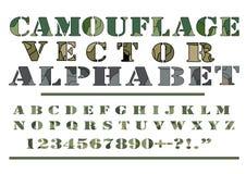 O vetor do estilo do teste padrão de Camo da camuflagem rotula a fonte do alfabeto Imagens de Stock