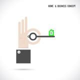 O vetor do logotipo do sumário da chave e do ícone da casa projeta Foto de Stock