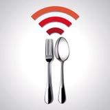 O vetor do lugar do restaurante livra WiFi Imagens de Stock Royalty Free
