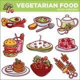 O vetor do menu do vegetariano dos pratos ou do vegetariano do alimento do vegetariano isolou ícones Foto de Stock