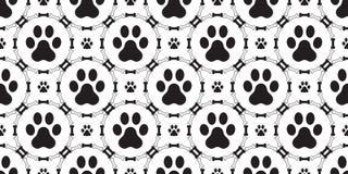 O vetor do teste padrão de Paw Seamless do cão isolou o papel de parede do fundo da repetição do gato do cachorrinho do osso de c ilustração do vetor