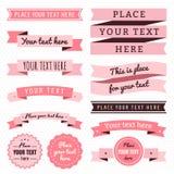 O vetor do vintage das fitas ajustou-se em cores cor-de-rosa claras e escuras ilustração do vetor