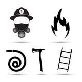 O vetor dos ícones do equipamento do bombeiro ajustou-se no fundo branco Imagem de Stock