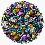 O vetor dos desenhos animados rabisca a ilustração subaquática do mundo ilustração royalty free