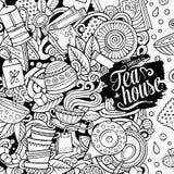 O vetor dos desenhos animados rabisca o prazo do chá Detalhado, com lotes do fundo dos objetos ilustração stock