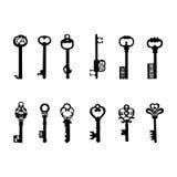 O vetor fecha as chaves 2 da silhueta/antiguidade Imagem de Stock Royalty Free
