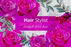 O vetor floresce o cartão com rosas fúcsia designs florais 3d realísticos Fotografia de Stock Royalty Free