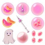 O vetor isolou as bolhas cor-de-rosa ajustadas Imagens de Stock