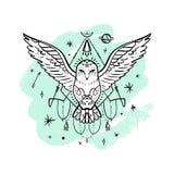 O vetor modelou a coruja, a lua e estrelas brancas polares, constelações do espaço Cópia animal onamental bonita ilustração royalty free