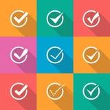 O vetor moderno confirma os ícones ajustados Fotos de Stock Royalty Free