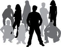 O vetor mostra em silhueta amigos (homem e as mulheres) ilustração stock