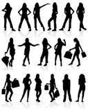 O vetor mostra em silhueta meninas Imagem de Stock Royalty Free