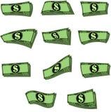 O vetor nota o dinheiro em formulários diferentes Foto de Stock