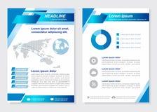 O vetor oblíquo quadrado azul da primeira página do tamanho A4 do molde da disposição e da página traseira projeta Imagens de Stock