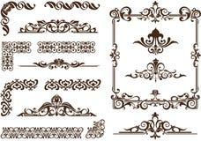 O vetor ornaments quadros, cantos, beiras Foto de Stock Royalty Free