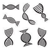 O vetor preto da hélice do ADN isolou os ícones ajustados Imagens de Stock