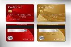 O vetor realístico do cartão de crédito do vermelho e do ouro projeta Fotos de Stock