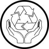 O vetor recicl o símbolo no ícone das mãos Fotos de Stock