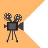O vetor retro do projetor de filme detalhou o cartaz com sombra Foto de Stock
