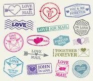 O vetor romântico do selo postal ajustou-se para o cartão do dia de Valentim, cartas de amor ilustração stock