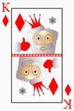 O vetor Santa Claus é diamantes de um terno do rei do cartão de jogo, sinos Imagem de Stock Royalty Free
