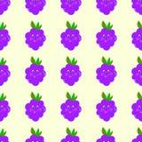 O vetor sem emenda do teste padrão dos desenhos animados de Blackberry eyes, sorrindo, bebê, bonito Imagens de Stock