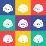 O vetor sorri plano quadrado Imagens de Stock Royalty Free