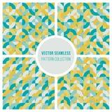 O vetor Teal Yellow Geometric Square Circles sem emenda obstrui o teste padrão ilustração stock