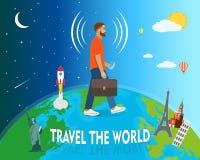 O viajante circunda o globo, ilustração do vetor Imagem de Stock Royalty Free