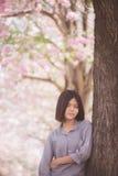 O viajante feliz da mulher relaxa sente livre com flores de cerejeira ou árvore da flor de sakura em férias Fotografia de Stock