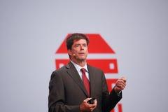 O vice-presidente executivo John Fowler de Oracle faz o discurso na conferência de OpenWorld Imagem de Stock