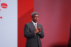 O vice-presidente executivo Thomas Kurian de Oracle faz o discurso na conferência de OpenWorld Foto de Stock Royalty Free