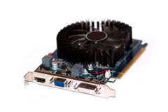 O videocard do computador está no fundo branco. Fotos de Stock Royalty Free