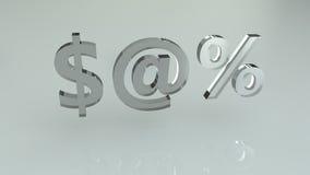 O vidro assina o dólar em e os por cento Fotos de Stock