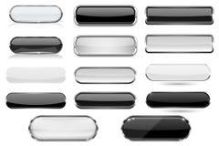 O vidro branco e preto 3d abotoa-se com quadro do cromo coleção Foto de Stock Royalty Free