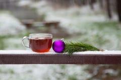 O vidro do chá quente e o Natal brincam no parque do inverno em uma tabela de madeira Foto de Stock